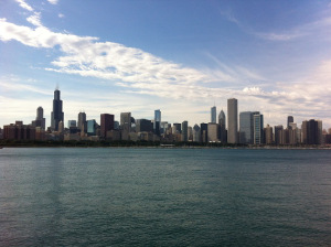 The Chicago skyline on the shores of Lake Michigan