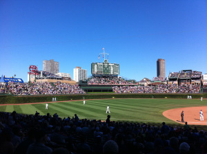 View of the iconic ivy and bleacher seats inside Wrigley Field
